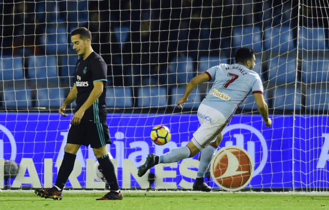 "Maxi Gomez equalized with a late header against <a class=""link rapid-noclick-resp"" href=""/soccer/teams/real-madrid/"" data-ylk=""slk:Real Madrid"">Real Madrid</a>. (Getty)"