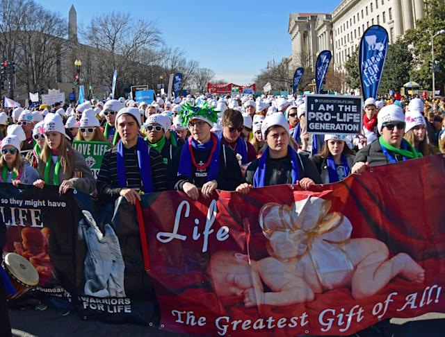 <p>Thousands of anti-abortion activists from around the U.S. gather near the National Mall in Washington, Jan. 19, 2017 for the annual March for Life. (Photo: Eva Hambach/AFP/Getty Images) </p>