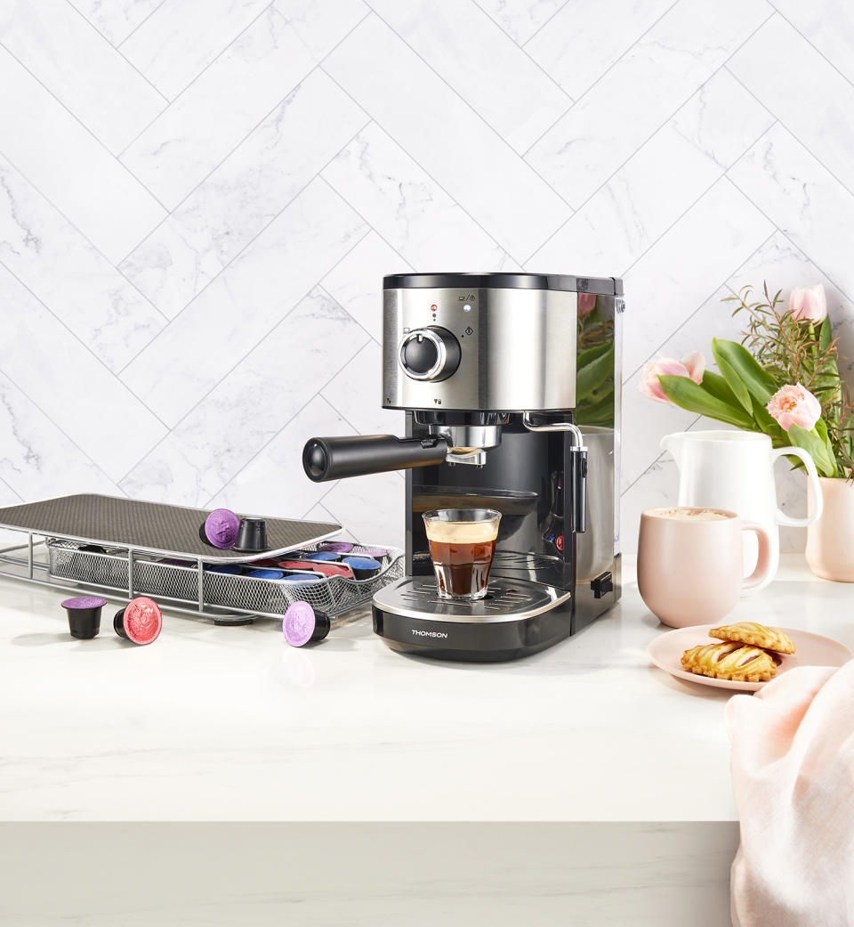 Thomson Espresso Maker with Milk Frother, $99.99 from Coles' Mother's Day Best Buys range. Photo: Coles (supplied).