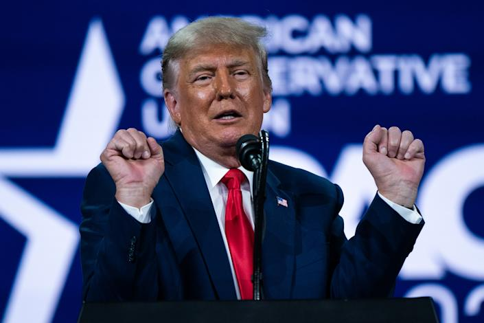 Former US President Donald Trump will speak at the Conservative Political Activities Council (CPAC) in Orlando, Florida, on Sunday, February 28, 2021.  (Elijah Nouvelage / Bloomberg via Getty Images)