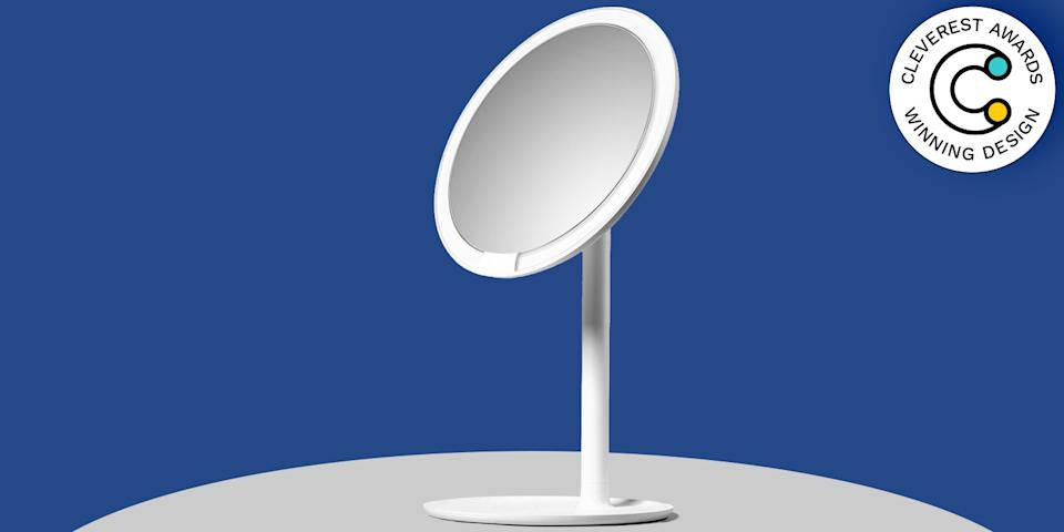 Petunia Lighted Makeup Mirror by Amiro If you've ever walked out of the house and realized your makeup looks awful in the light of day, chalk it up to your bathroom lighting. Outfitted with Purelux LED technology—the same stuff responsible for illuminating the screens of smartphones—this tabletop mirror simulates sunlight, allowing you to preview how your face will look outside before you head out. $55, amazon.com