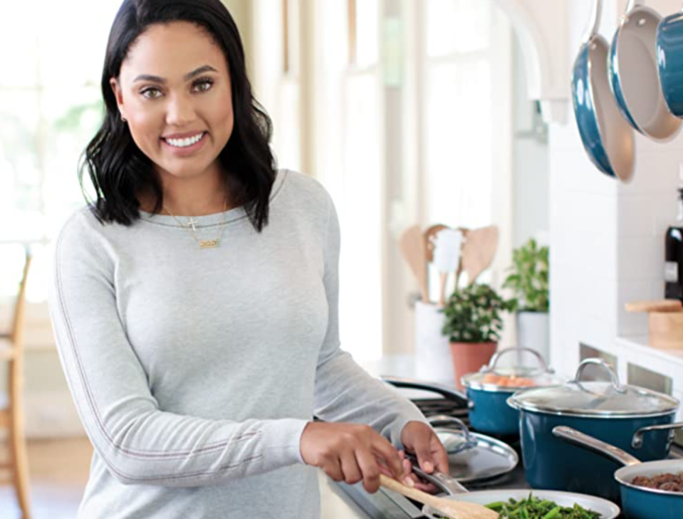 Cookbook author Ayesha Curry's pots and pans are stellar—and on sale! (Photo: Amazon)