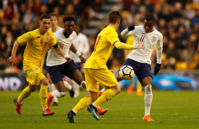Soccer Football - Under 21 International Friendly - England vs Romania - Molineux Stadium, Wolverhampton, Britain - March 24, 2018 England's Ademola Lookman in action Action Images via Reuters/Andrew Boyers