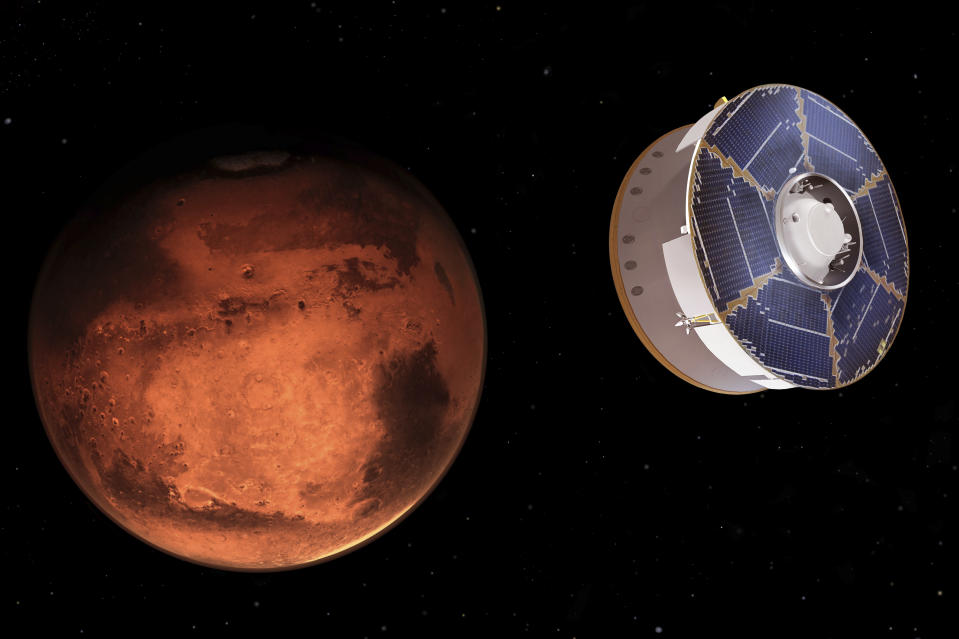 This illustration provided by NASA depicts the Mars 2020 spacecraft carrying the Perseverance rover as it approaches Mars. Perseverance's $3 billion mission is the first leg in a U.S.-European effort to bring Mars samples to Earth in the next decade. (NASA/JPL-Caltech via AP)