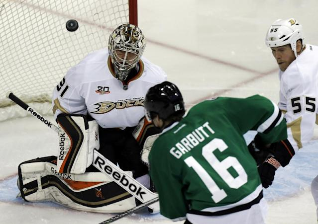 Anaheim Ducks goalie Frederik Andersen (31) and defenseman Bryan Allen (55) defend the goal against Dallas Stars left wing Ryan Garbutt (16) during the first period of Game 6 of a first-round NHL hockey playoff series in Dallas, Sunday, April 27, 2014. (AP Photo/LM Otero)