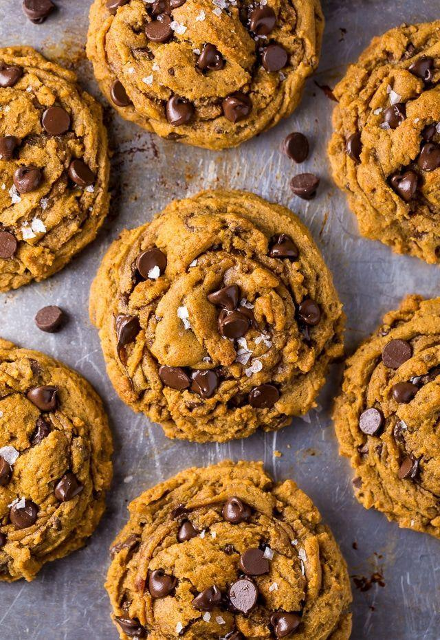 "<p>Throw all of the best flavors of the season — pumpkin, cinnamon, and chocolate — into a bowl for a quick crowd-pleaser.</p><p><em><a href=""https://bakerbynature.com/vegan-pumpkin-chocolate-chip-cookies/"" rel=""nofollow noopener"" target=""_blank"" data-ylk=""slk:Get the recipe at Baker by Nature »"" class=""link rapid-noclick-resp"">Get the recipe at Baker by Nature »</a></em></p>"