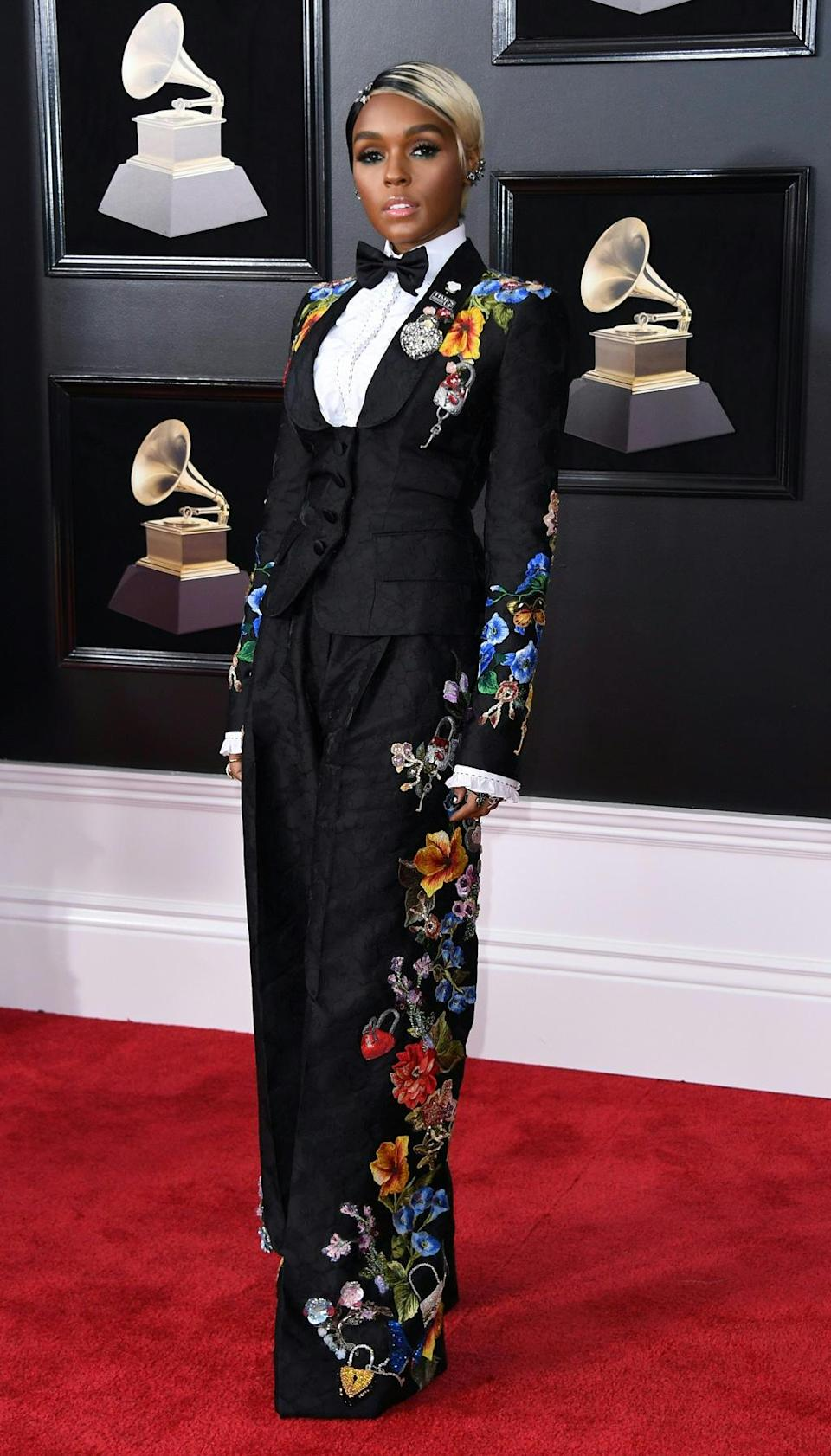 Janelle Monae stood out at the Grammy Awards in a sophisticated Dolce & Gabbana pant suit decorated with embroidered flowers. She matched it with a bow tie for an added masculine twist. New York, January 28, 2018.