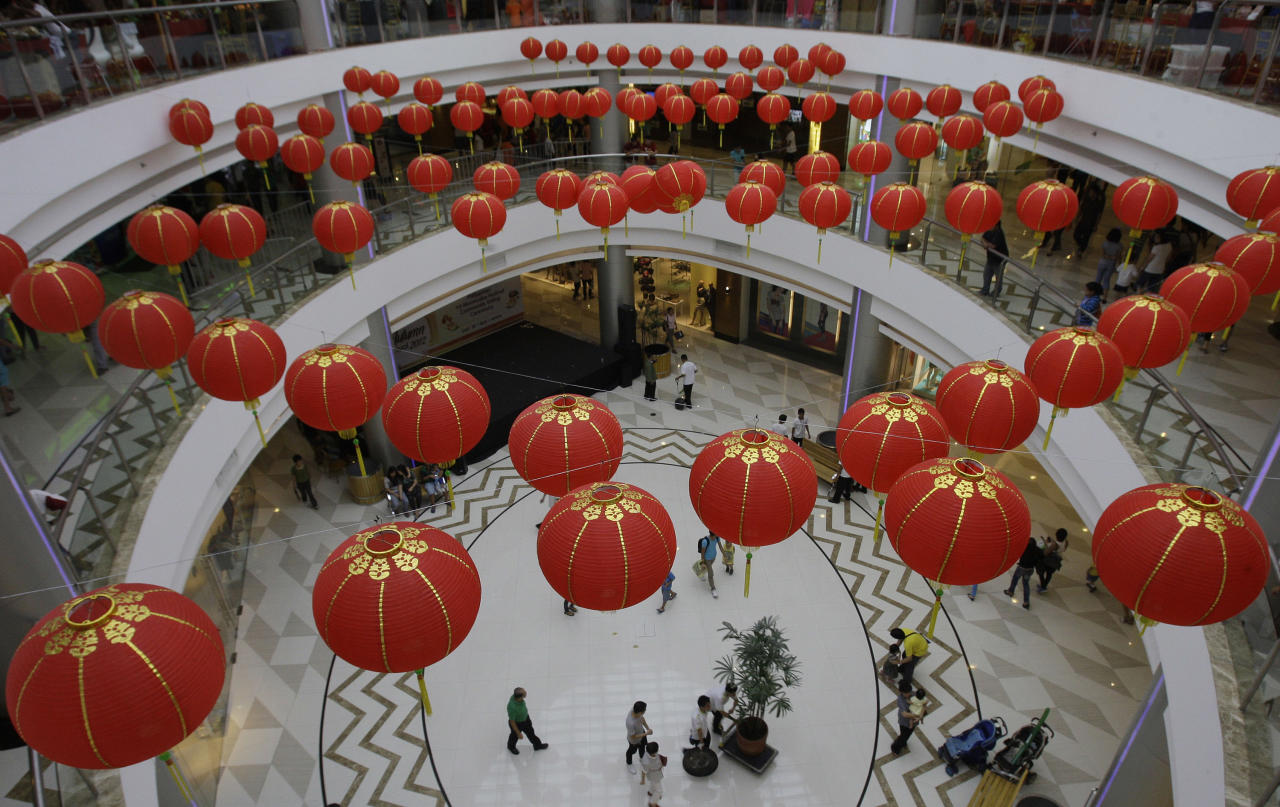 Red lanterns adorn a mall in Manila's Chinatown, Philippines on Sunday Sept. 30, 2012. The mall held several events as part of its celebrations for the Chinese mid-autumn festival. (AP Photo/Aaron Favila)