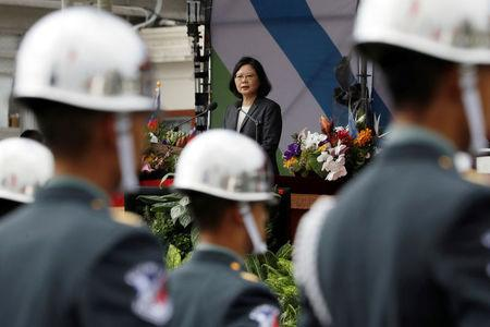 Taiwan President Tsai Ing-wen gives a speech during the National Day celebrations in Taipei, Taiwan, October 10, 2017. REUTERS/Tyrone Siu