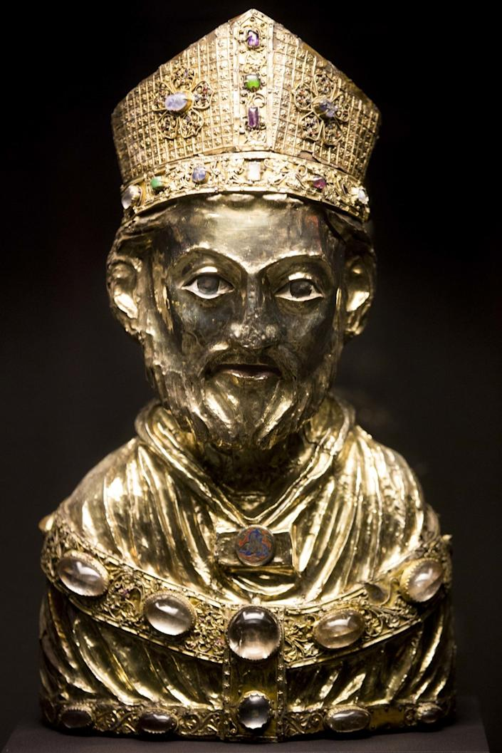 A medieval bust of St. Blaise, part of the Guelph Treasure, is displayed at the Bode Museum in Berlin.