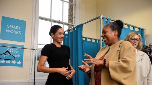 PHOTO: Britain's Meghan, the Duchess of Sussex talks with Patsy Wardally during her visit to Smart Works, a charity to which she has become patron, at St Charles hospital in west London on Jan 10, 2019. (Clodagh Kilcoyne/AFP/Getty Images, FILE)