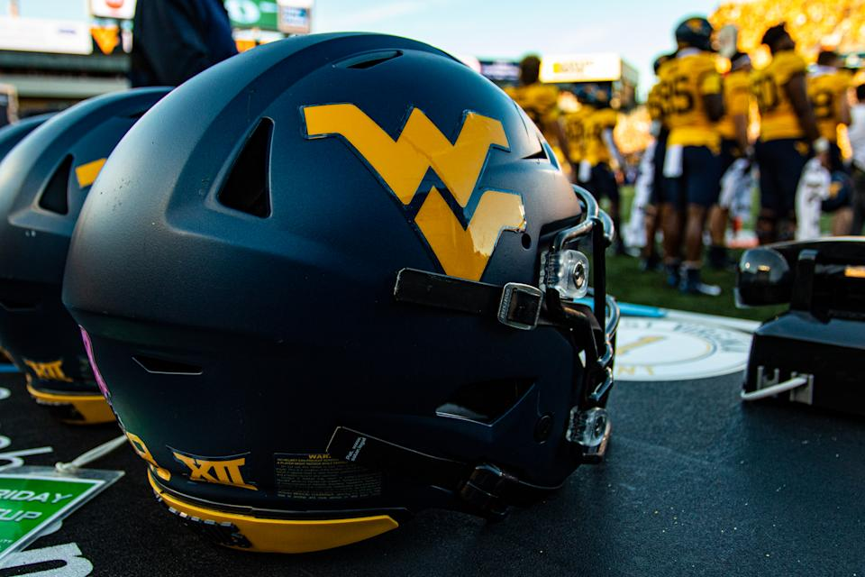 MORGANTOWN, WV - OCTOBER 05: A photo of a West Virginia Mountaineers helmet during the College football game between the Texas Longhorns and the West Virginia Mountaineers on October 05, 2019 at Mountaineer Field at Milan Puskar Stadium in Morgantown, WV. (Photo by Mark Alberti/Icon Sportswire via Getty Images)