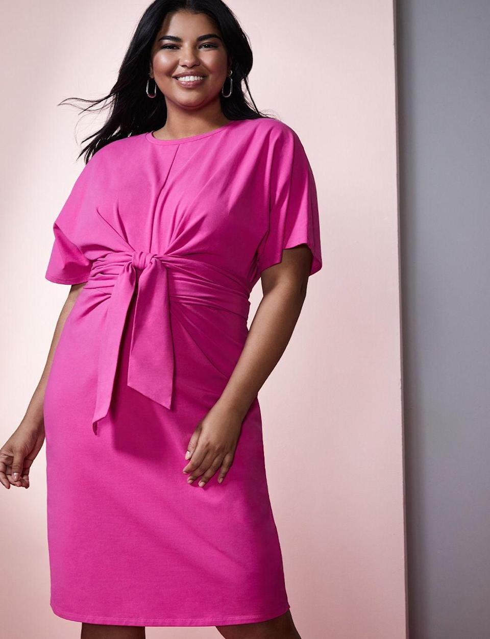 <p>If you love hot pink, check out this <span>ELOQUII Cross Front Flutter Sleeve Dress</span> ($100).</p>