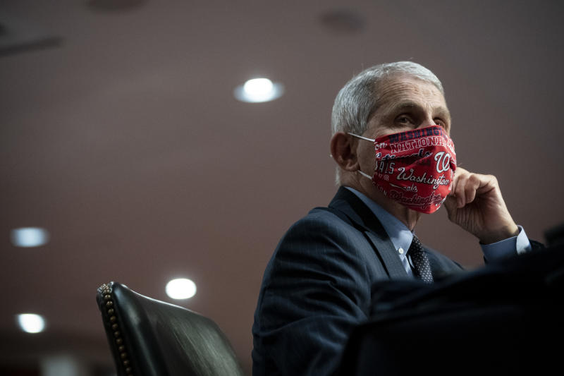 WASHINGTON, DC - JUNE 30: Dr. Anthony Fauci, director of the National Institute of Allergy and Infectious Diseases, wears a face covering as he listens during a Senate Health, Education, Labor and Pensions Committee hearing on June 30, 2020 in Washington, DC. The committee discussed efforts to safely get back to work and school during the coronavirus pandemic. (Photo by Al Drago - Pool/Getty Images)