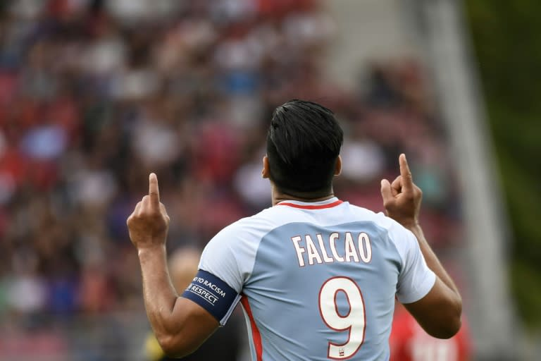 Monaco's forward Radamel Falcao celebrates after scoring his third goal during the French L1 football match against Dijon FCO August 13, 2017