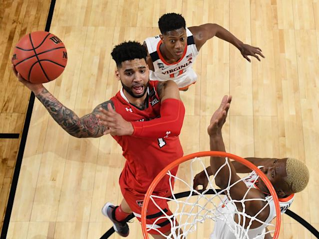Brandone Francis #1 of the Texas Tech Red Raiders drives to the basket during the second half against the Virginia Cavaliers in the 2019 NCAA men's Final Four National Championship game at U.S. Bank Stadium on April 08, 2019 in Minneapolis, Minnesota. (Photo by Brett Wilhelm/NCAA Photos via Getty Images)