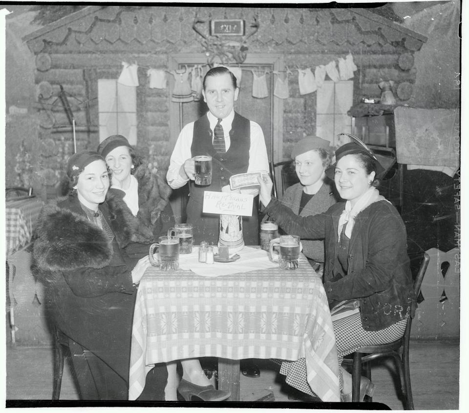 """<p>A group of young women in New York donated to the Hauptmann Defense Fund in an 86th Street beer garden. Hundreds of collections were taken throughout the Yorkville section, also known as """"Little Germany.""""<br></p>"""
