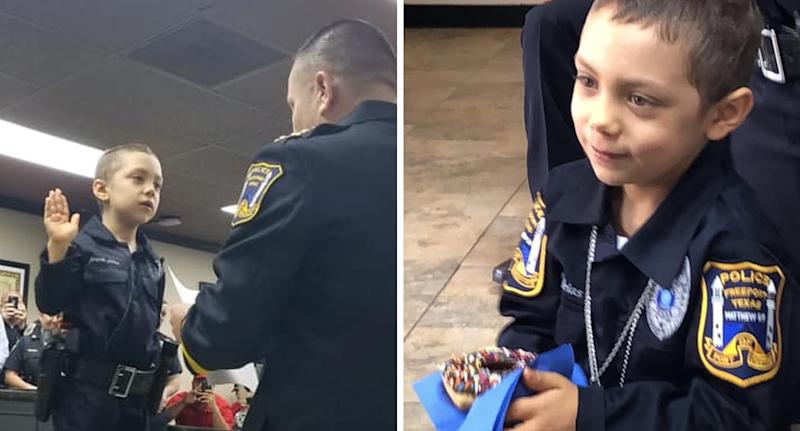 Year-old with cancer sworn in as honorary police officer