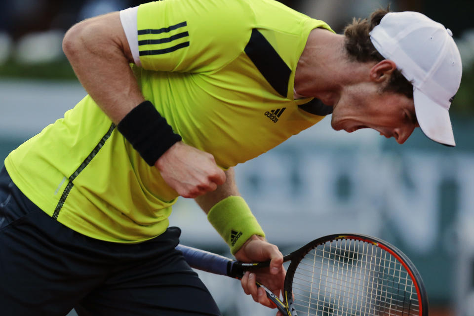 FILE - In this June 4, 2014, file photo, Britain's Andy Murray celebrates scoring a point during a quarterfinal match of the French Open tennis tournament against France's Gael Monfils at Roland Garros stadium, in Paris. Murray won in five sets 6-4, 6-1, 4-6, 1-6, 6-0. (AP Photo/Darko Vojinovic, File)
