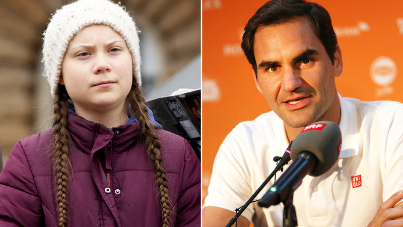 Greta Thunberg and Roger Federer, pictured here in January 2020.