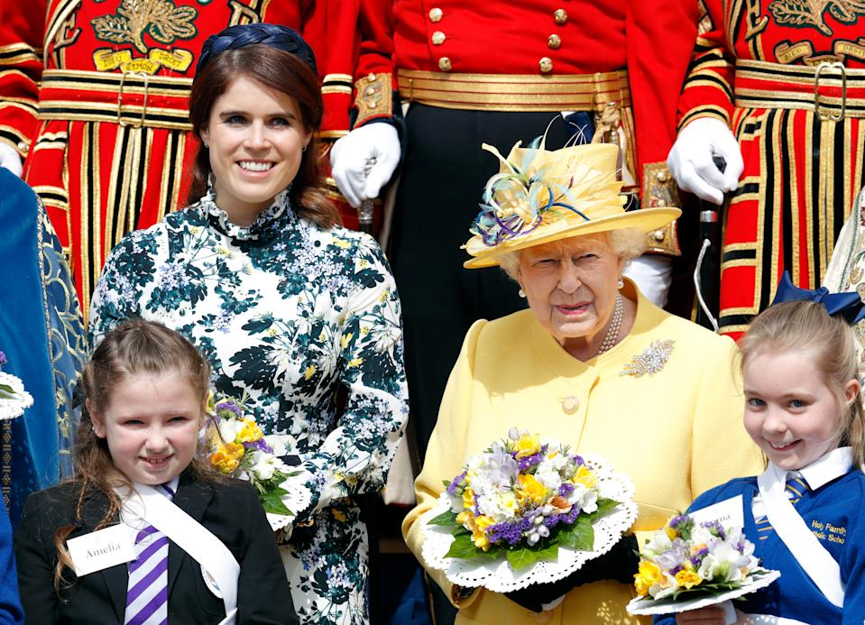 WINDSOR, UNITED KINGDOM - APRIL 18: (EMBARGOED FOR PUBLICATION IN UK NEWSPAPERS UNTIL 24 HOURS AFTER CREATE DATE AND TIME) Princess Eugenie and Queen Elizabeth II attend the traditional Royal Maundy Service at St George's Chapel on April 18, 2019 in Windsor, England. During the service The Queen distributed Maundy money to 93 men and 93 women, one for each of her 93 years. (Photo by Max Mumby/Indigo/Getty Images)