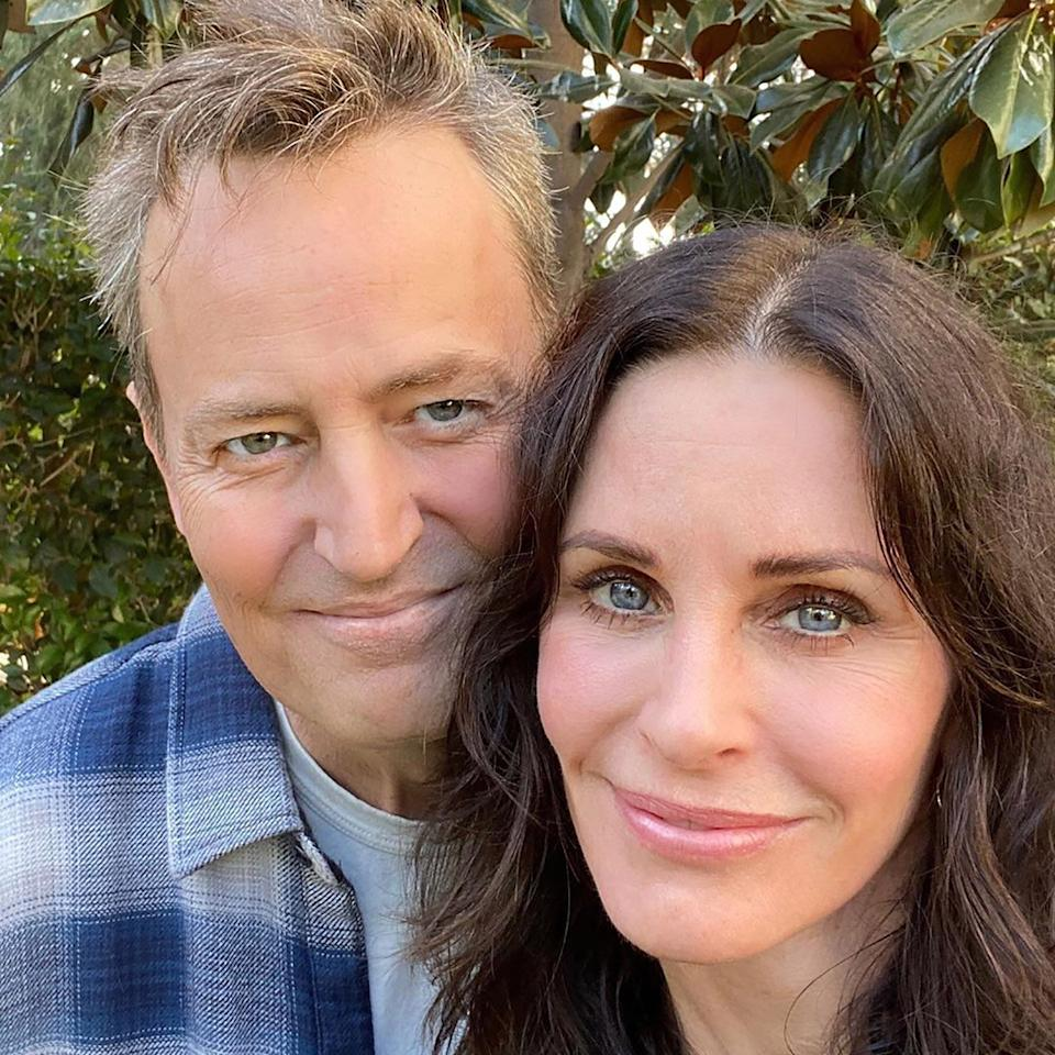 """Former on-screen love interests Cox and Perry reminded the world they're still real-life pals as they shared a <a href=""""https://www.instagram.com/p/B4lRJHXjgnT/?utm_source=ig_embed"""">smiling selfie</a> on Nov. 7.  """"Guess who I had lunch with today….I KNOW!! Could I BE any happier? <a>#realfriends""""</a> Cox captioned the snap, including the catchphrases of their two characters, Monica and Chandler.  Fellow <em>Friends</em> alumni chimed in on the shot, with Lisa Kudrow commenting, """"Lucky lucky. #beautifulpeople,"""" and a delighted Jennifer Aniston showing off her newfound love for Instagram, writing, """"MATTY!! ❤️❤️❤️ I LOVE YOU, GUYS."""""""