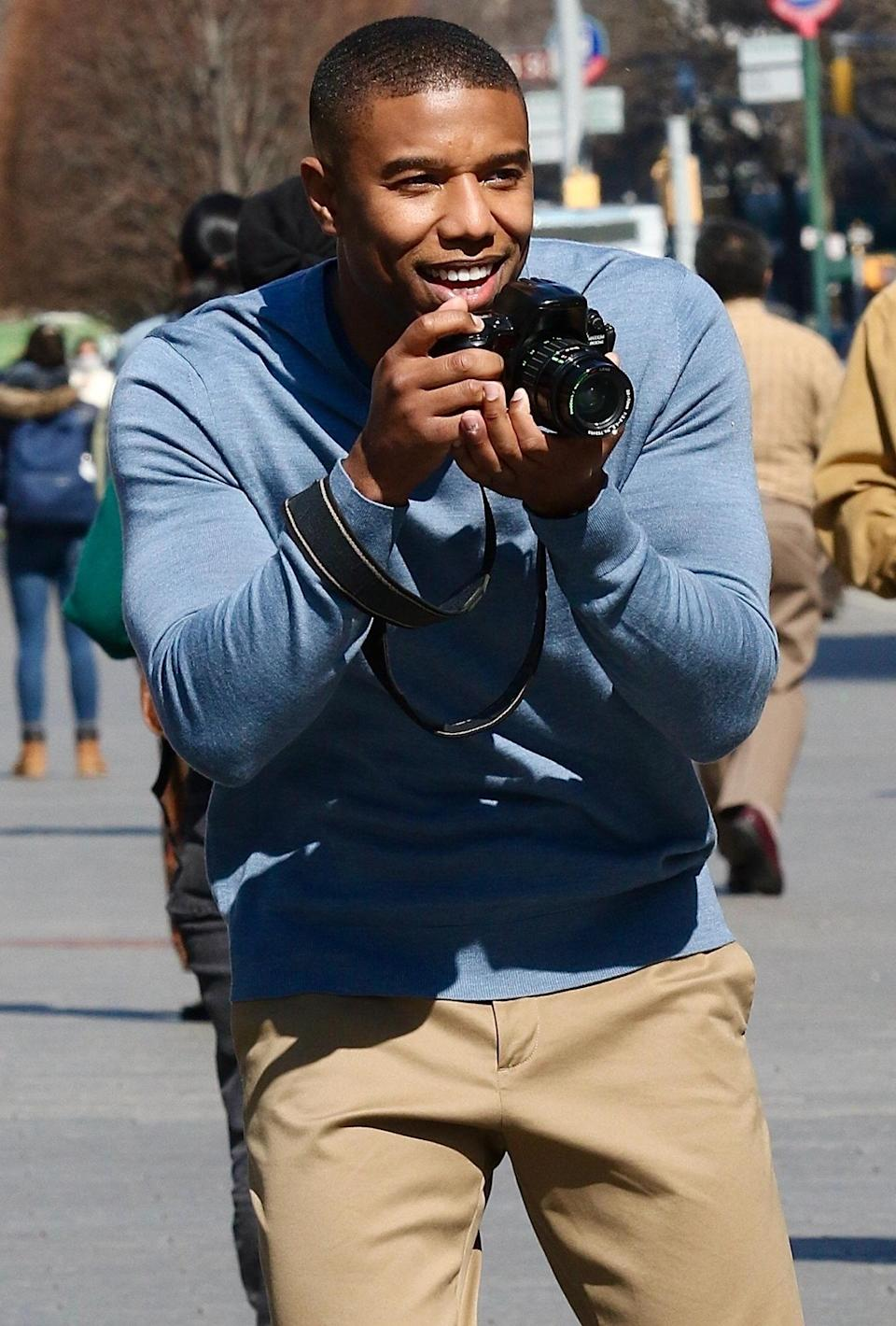 <p>Michael B. Jordan grabs a camera to take snaps of costar Chanté Adams for Denzel Washington's upcoming film <em>A Journal for Jordan</em> at The Metropolitan Museum of Art on Wednesday in N.Y.C.</p>