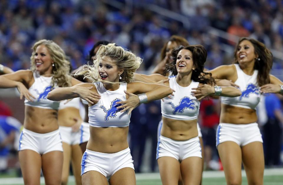 <p>The Detroit Lions cheerleaders perform during the second half of an NFL football game against the Los Angeles Rams, Sunday, Oct. 16, 2016, in Detroit. (AP Photo/Paul Sancya) </p>