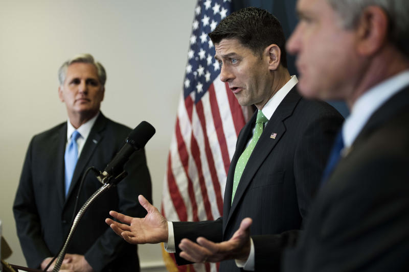 House Speaker Paul Ryan (R-Wis.), with House Majority Leader Kevin McCarthy (R-Calif.), left, speaks at a press conference on Capitol Hill on Wednesday. Ryan reportedly hates the Senate filibuster rule. McCarthy proposed ending the filibuster on spending bills. (JIM WATSON/AFP/Getty Images)