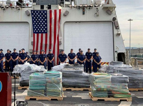 PHOTO: 18,000 pounds of cocaine, worth over $312 million, is displayed after a drug smuggling bust by the DEO and the U.S. Coast Guard. (DEA San Diego/Twitter)