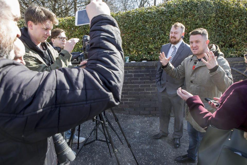 Mark Meechan and far-right activist Tommy Robinson (right) speak to the media at Airdrie Sheriff Court for Meechan's trail (SWNS)