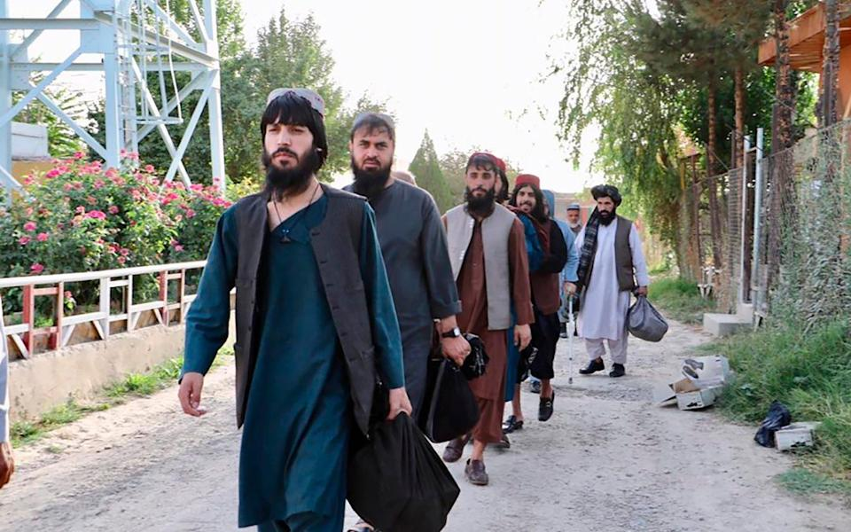 Taliban prisoners are released from Pul-e-Charkhi jail in Kabul, Afghanistan, Thursday, Aug. 13, 2020. - AP