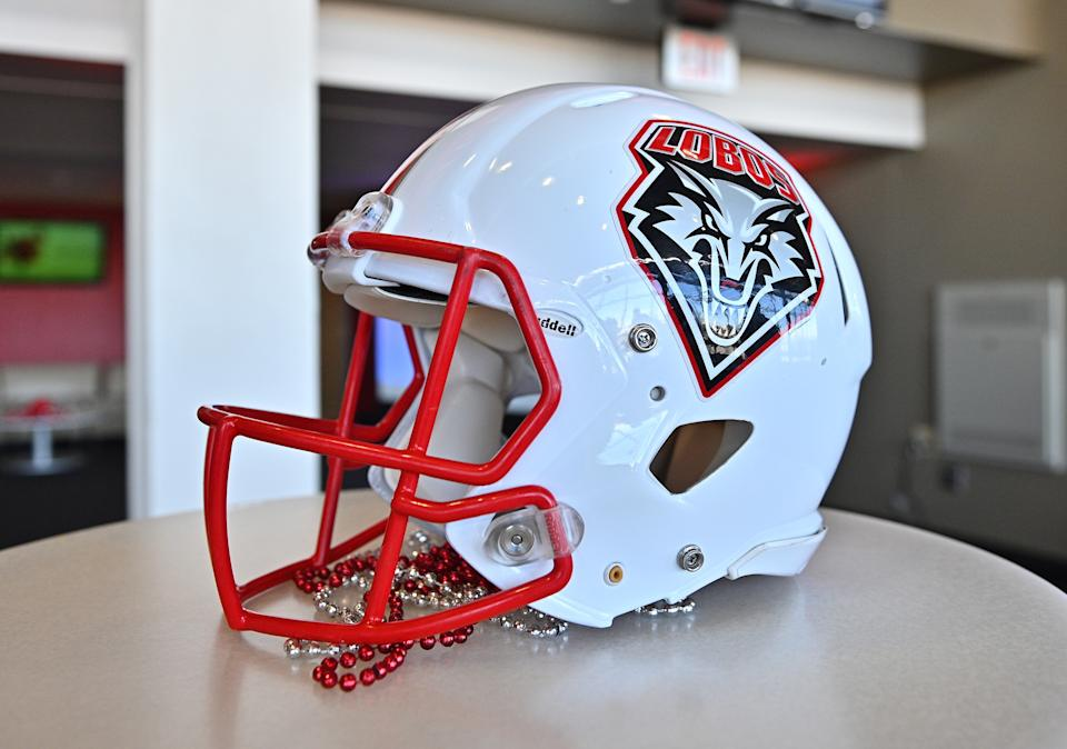 A New Mexico Lobos helmet.