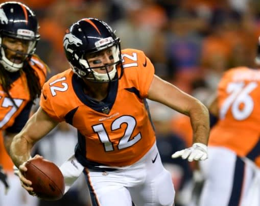 Paxton Lynch went 6-of-11 for 24 yards, was sacked once and threw an interception in Saturday's preseason game against the Vikings. (AP)