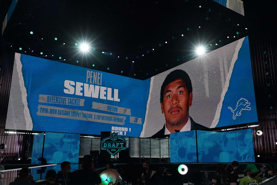 The Lions grabbed Penei Sewell with the seventh overall pick in the first round of the NFL draft.