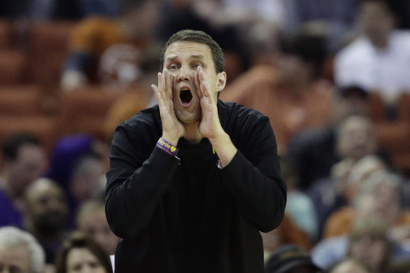 LSU head coach Will Wade call to his players during the first half of an NCAA college basketball game against Texas , Saturday, Jan. 25, 2020, in Austin, Texas. (AP Photo/Eric Gay)