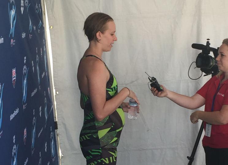 Olympic swimmer Dana Vollmer is still competing while 6