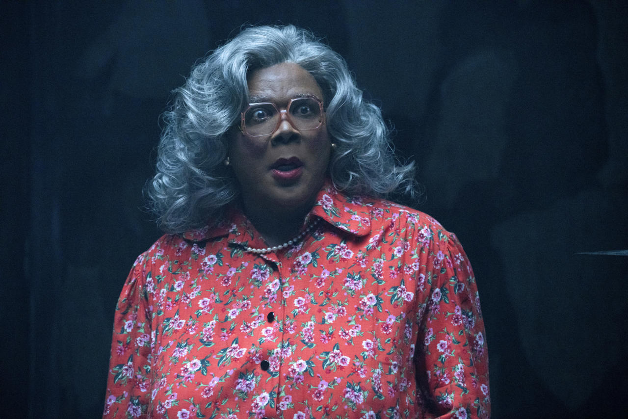 "<p> This image released by Lionsgate Entertainment shows Tyler Perry as Madea in ""Tyler Perry's Boo! 2 A Madea Halloween."" (Chip Bergman/Lionsgate Entertainment via AP) </p>"