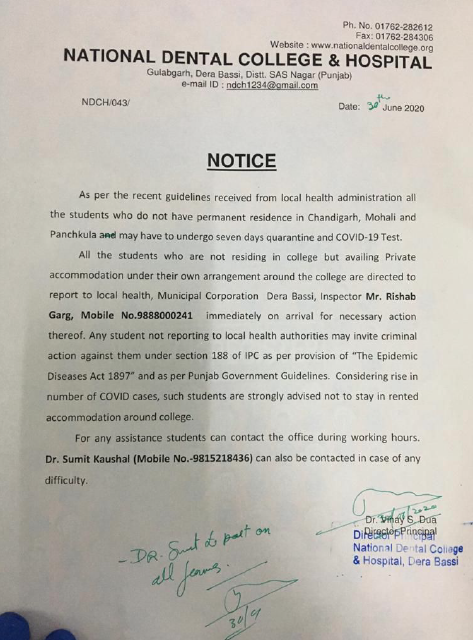 A notice by National Dental College and Hospital.