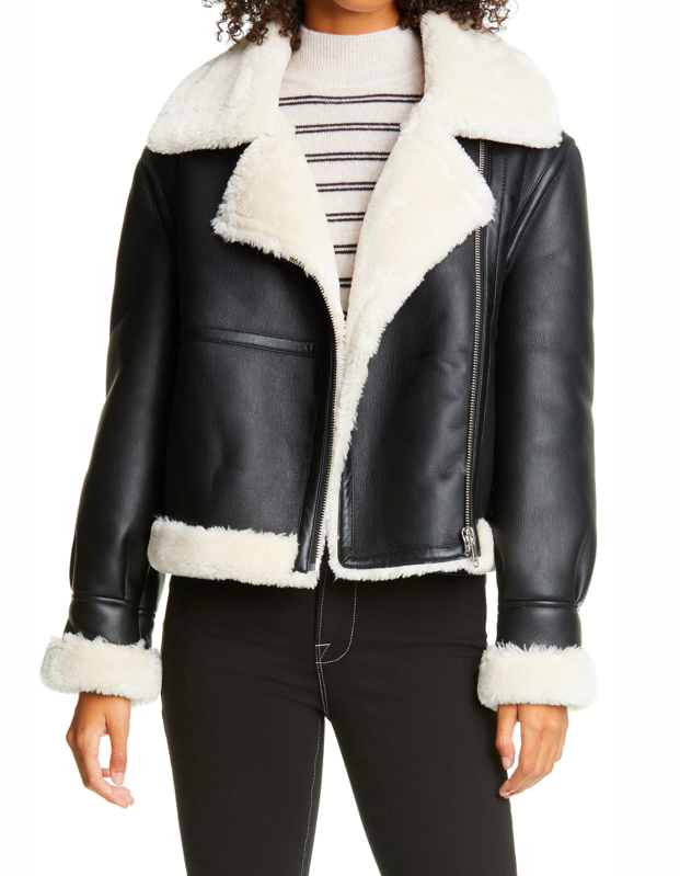 "Don't sleep on (faux) shearling this season. This structured jacket is bound to come in handy once temps begin to drop. The winter is coming. $695, Nordstrom. <a href=""https://www.nordstrom.com/s/frame-faux-shearling-jacket/5613585"" rel=""nofollow noopener"" target=""_blank"" data-ylk=""slk:Get it now!"" class=""link rapid-noclick-resp"">Get it now!</a>"