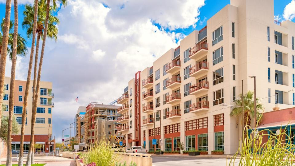 Stock photograph of new apartment buildings on Broadway boulevard in downtown Tucson Arizona USA.