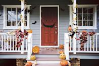 """<p>Along with a scary face Halloween decal for your front door, wrap your porch railings in foliage and complete the look with jack-o-lanterns. </p><p><a class=""""link rapid-noclick-resp"""" href=""""https://go.redirectingat.com?id=74968X1596630&url=https%3A%2F%2Fwww.etsy.com%2Flisting%2F748229803%2Fhalloween-scary-face-for-front-door&sref=https%3A%2F%2Fwww.goodhousekeeping.com%2Fholidays%2Fhalloween-ideas%2Fg32948621%2Fhalloween-door-decorations%2F"""" rel=""""nofollow noopener"""" target=""""_blank"""" data-ylk=""""slk:SHOP SCARY FACE WALL STICKER"""">SHOP SCARY FACE WALL STICKER</a></p>"""