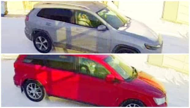 Calgary police believe these two vehicles were used to flee the scene of a shooting that took place on Feb. 9.  (Calgary Police Service - image credit)