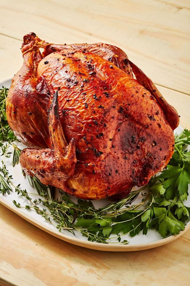 """<p>A dry brine takes a little bit of forethought but not that much extra work and you'll end up with a turkey that's juicy, flavourful, and has extra crispy skin. I mean, look at it?!</p><p>Get the <a href=""""http://www.delish.com/uk/cooking/recipes/a29708864/how-to-dry-brine-turkey-recipe/"""" target=""""_blank"""">Dry Brine Turkey </a>recipe.</p>"""