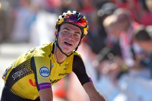 American Sepp Kuss won his first Grand Tour stage Sunday at the Vuelta a Espana (AFP Photo/ANDER GILLENEA)