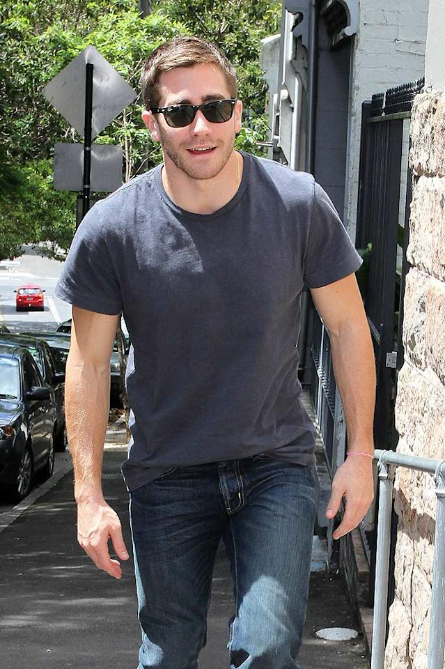 """Even in a casual T-shirt and jeans, Jake Gyllenhaal is one of our fave leading men in Tinseltown! Unfortunately, the """"Prince of Persia"""" star hasn't found his perfect real-life leading lady yet, having gone through two high-profile breakups with Reese Witherspoon and Taylor Swift. If it couldn't be you (of course!), which celeb would you like to see him with next? Scope Australia/<a href=""""http://www.PacificCoastNews.com"""" target=""""new"""">PacificCoastNews.com</a> - December 6, 2010"""