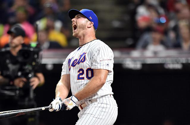 Jul 8, 2019; Cleveland, OH, USA; New York Mets first baseman Pete Alonso (20) reacts after the second round in the 2019 MLB Home Run Derby at Progressive Field. (USA TODAY Sports)