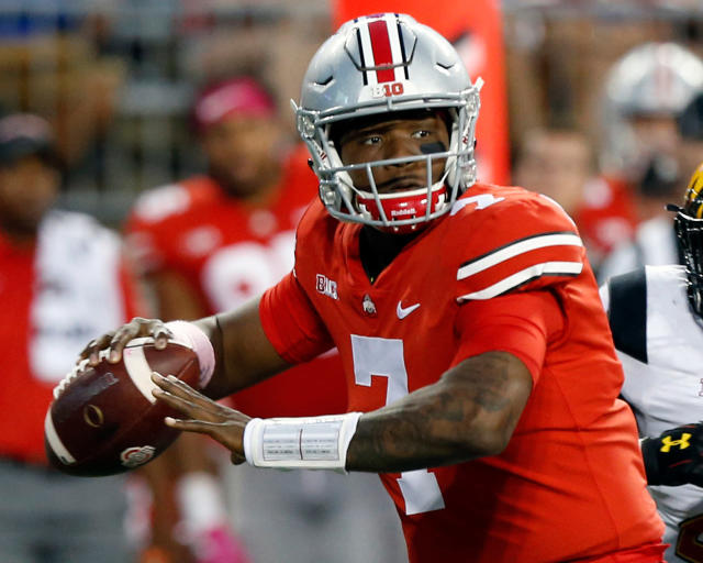FILE - In this Oct. 7, 2017, file photo, Ohio State quarterback Dwayne Haskins throws a pass against Maryland during the second half of an NCAA college football game in Columbus, Ohio. (AP Photo/Jay LaPrete, File)