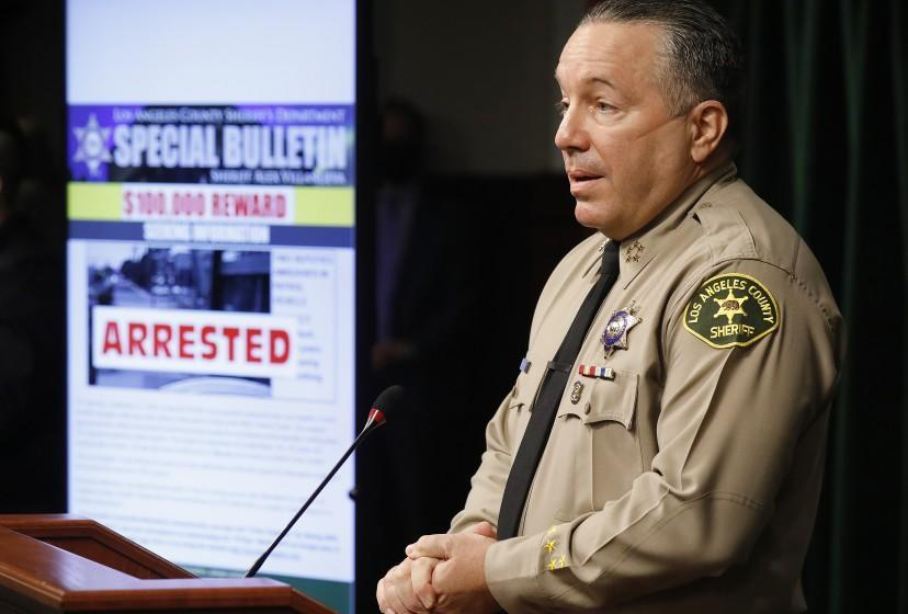 LOS ANGELES, CA - SEPTEMBER 30: Los Angeles County Sheriff Alex Villanueva and District Attorney Jackie Lacey announce an arrest of Deonte Lee Murray in the ambush shooting of two on-duty deputies who were sitting in their marked patrol car at the Metro Blue Line station in Compton September 12, 2020. Hall Of Justice on Wednesday, Sept. 30, 2020 in Los Angeles, CA. (Al Seib / Los Angeles Times