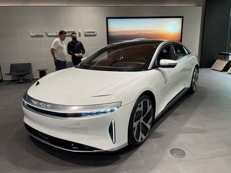 A Lucid Air electric vehicle is displayed at a shopping mall in Scottsdale, Arizona